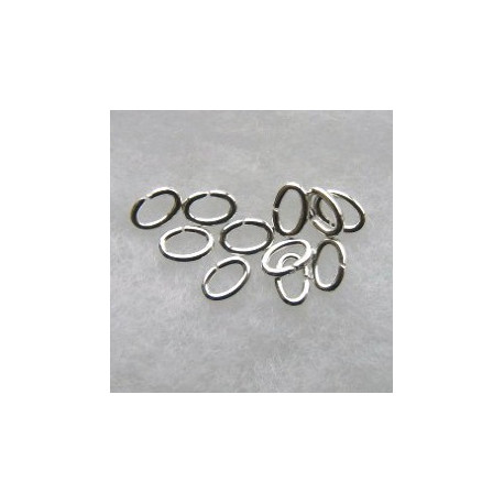 F4310S - Oval Jump Rings, 4 x 6 mm, Silver Coloured.
