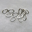 Oval jump rings, 4 x 6 mm, silver coloured.