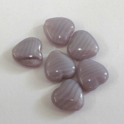 Lilac glass heart. Pack of 10