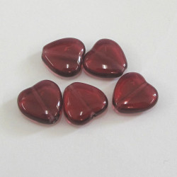 Glass heart, garnet red. Pack of 10