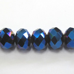 10x8mm crystal rondelles midnight blue. Approx 13 per string.
