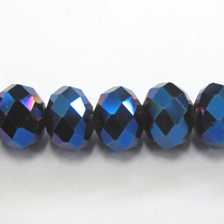 CR1347 - 10x8mm crystal rondelles midnight blue. Approx 13 per string.