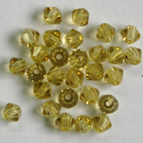 CR4405 - 4mm Crystal Bicone, Lemon Yellow.