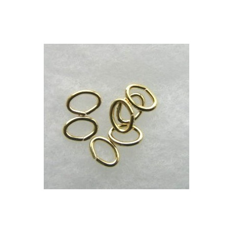 F4311G - Oval Jump Rings, 5 x 7mm, Gold Coloured.