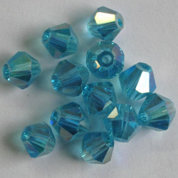 6mm crystal bi-cone. Turquoise blue.