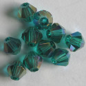 6mm crystal bi-cone. Green AB.