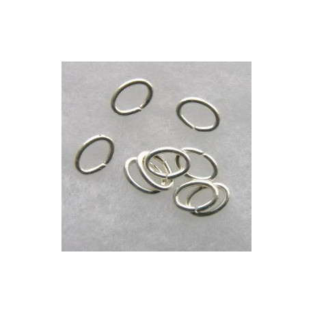F4311S - Oval Jump Rings, 5 x 7mm, Silver Coloured.
