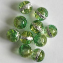 10 mm green and silver crackle beads.