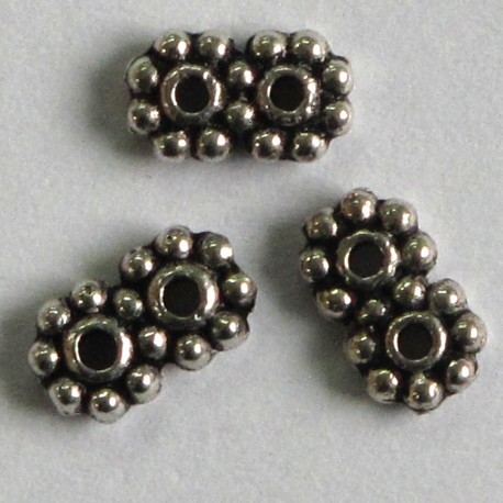 F6098 - Small Two Hole Spacer, Antique Silver Coloured.