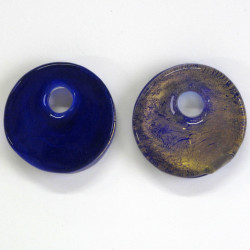 Large disc bead, midnight blue glass bead with gold coloured inlay.