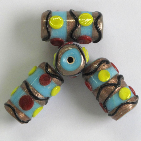 LW17 - Pale Blue and Gold Lampwork Tube Bead with Yellow, Red and Black Decoration.