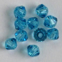 3mm crystal bi-cones, turquoise blue.