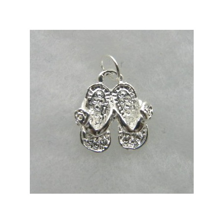 F8258S - Pair of sandals charm, silver colour.