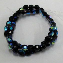 3mm jet black AB fire polished Czech glass. Pack of 50.