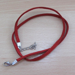 Ready made red faux suede necklace.