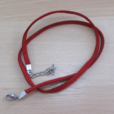 NK1012 - Ready Made Red Faux Suede Necklace.