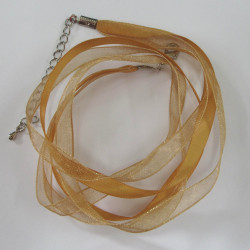 Golden 3 strand ribbon necklace.