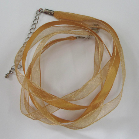 NK1103 - Golden 3 Strand Ribbon Necklace.