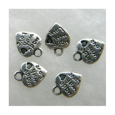 "F8510S - Antique Silver Colour Heart Charms ""Made with love""."