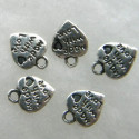 Antique silver colour heart charms made with love.