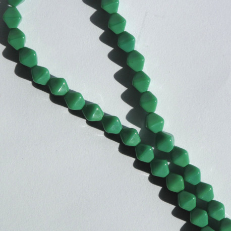 BC1240 - 6 mm Czechs Glass Bicone, Opaque Green, Approx. 50 per Strand.