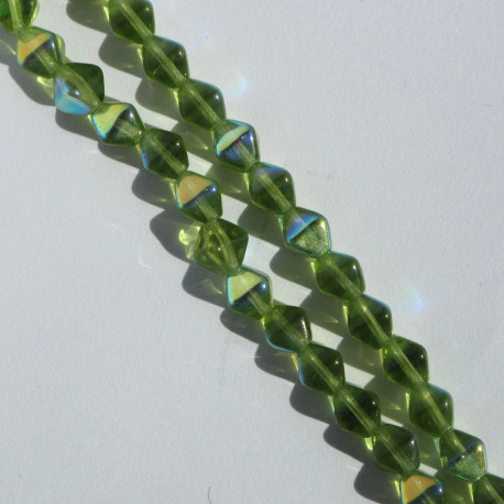 BC1241 - 6 mm Czechs Glass Bicone, Olivine AB, Approx. 50 per Strand.
