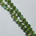 6 mm Czech glass bi-cone, olivine AB, approx. 50 per strand.
