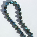 6 mm Czech glass bi-cone, green iris, approx. 50 per strand.