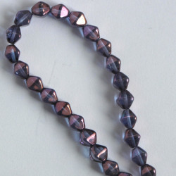 6 mm Czech glass bi-cone, lustre, transparent amethyst, approx. 50 per strand.