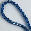 6 mm Czech glass bi-cone, Capri blue, approx. 50 per strand.