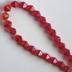 6 mm Czech glass bi-cone, lustre, ruby iris, approx. 50 per strand.