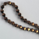 6 mm Czech glass bi-cone, lustre, dark bronze, approx. 50 per strand.