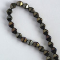 6 mm Czech glass bi-cone, brown iris, approx. 50 per strand.