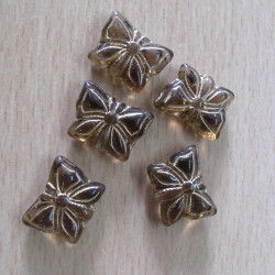 CZ2163 - Brown glass butterfly with gold inlay. Pack of 10