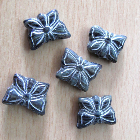 CZ2165 - Charcoal grey butterfly with white inlay. Pack of 10.