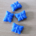 Blue Czech glass butterfly bead. Pack of 10.