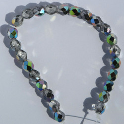 FP6201 - 6mm Czech Fire Polished Glass Beads, Vitral Crystal, Approx. 25 Beads per Strand.