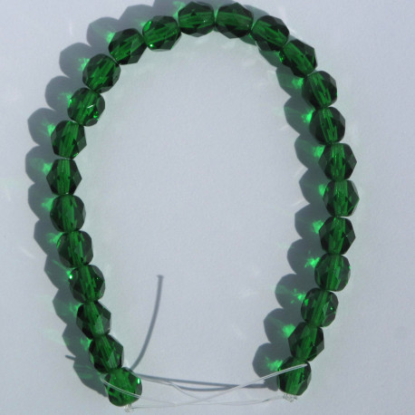 FP6221 - 6mm Czech Fire Polished Glass Beads, Green Emerald, Approx. 25 Beads per Strand.