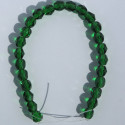 6mm Czech fire polished glass beads, green emerald, approx. 25 beads per strand.
