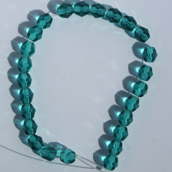 6mm Czech fire polished glass beads, light teal, approx. 25 beads per strand.