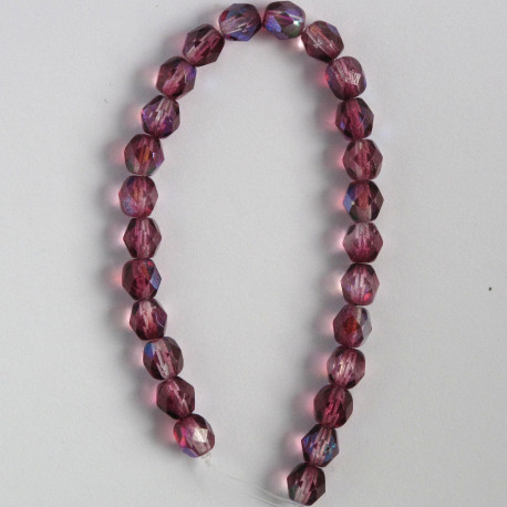 FP6370 - 6mm Czech Fire Polished Glass Beads, Coated Violet AB, Approx. 25 Beads per Strand.