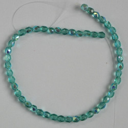 3mm Czech fire polished glass beads, teal AB.