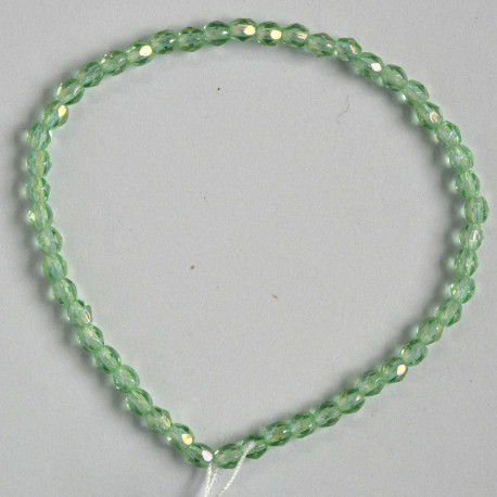 FP3008 - 3mm Czech Fire Polished Glass Beads, Peridot AB.