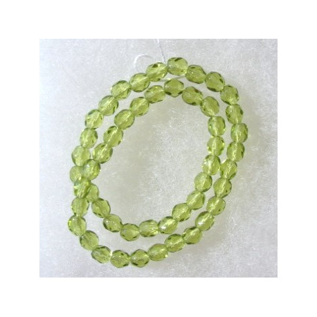 FP4200 - 4mm Czech glass fire polished beads lime green. String of 50