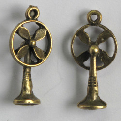 Decorative table top fan charm in a steam punk style.
