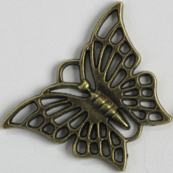 F8640 - Large Open Decorative Butterfly Charm in a Steam Punk Style.