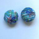 Puff coin turquoise blue lamp-work bead. Pack of 2.