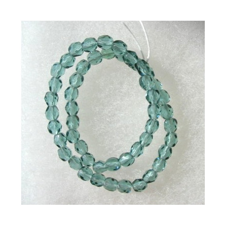 FP4250 - 4mm Czech glass fire polished beads soft spruce green. String of 50