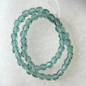 4mm Czech glass fire polished beads soft spruce green. String of 50