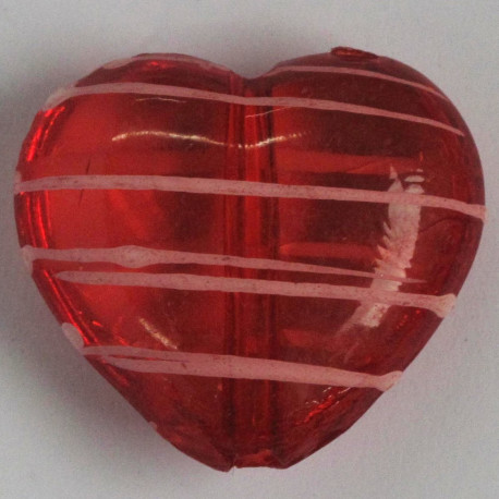 AC4774 - Large, Red with Pink Stripes, Heart Shaped Bead.